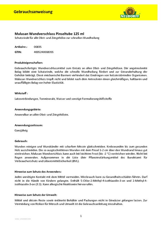 Berühmt Neudorff: Malusan Wundverschluss #DG_69